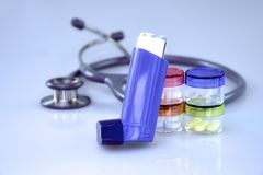Asthma diagnostic and treatment. stock photo