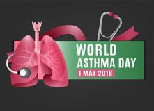 World asthma day. Landscape poster concept. Beautiful vector illustration with lungs icon. Editable image in pink and green colors on a dark grey background Royalty Free Stock Image