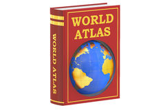 World atlas book concept, 3D rendering. On white background royalty free illustration
