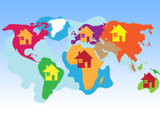World Atlas childish style. Colorful world continents, drawn child-like Stock Images