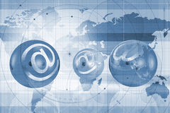 World atlas and email symbols Stock Image