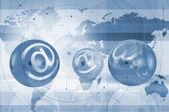 World atlas and email symbols. Illustration of world map and email symbols on spheres Stock Image