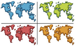 World atlas in four colors Stock Photo