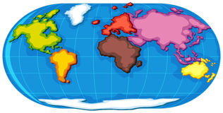 World atlas with seven continents Royalty Free Stock Image