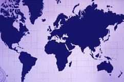 World Atlas Wall Decoration in Navy Blue and Pastel Purple Color. Texture Background stock illustration