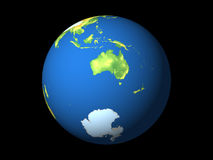 World, Australia, Antarctica. Detailed 3D rendering of the globe on black background Royalty Free Stock Photography