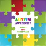 World autism awareness day with colorful puzzle. Background stock illustration