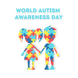 World Autism Awareness Day. Holiday or event for people with autism and other deseases. Boy and girl Stock Image
