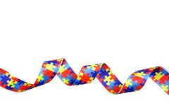 World Autism awareness and pride day with Puzzle pattern ribbon isolated on white. Background Royalty Free Stock Photos