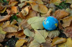 World in autumn. Autumn with a lot of cloured leaves and world Royalty Free Stock Images