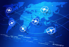 World Aviation Directions. Abstract concept world aviation directions blue business background Royalty Free Stock Photography