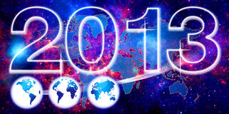 World background for 2013. This is an image based on the concept of Celebrate the New year 2013 and shows a star and fire background over which is an image Stock Photo