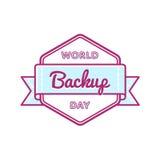 World Backup day greeting emblem. World Backup day emblem isolated vector illustration on white background. 31 march world computer holiday event label, greeting Royalty Free Stock Image