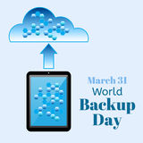World Backup Day vector illustration. Realistic tablet PC computer or smartphone with data cells on the screen transmits Royalty Free Stock Photo