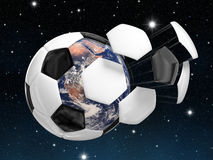 The world in a ball. Computer generated image of an exploding ball with the earth inside. Conceptual image related to the soccer world cup Stock Image