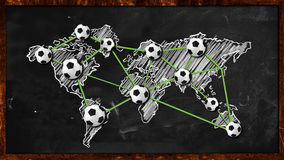 World ball Connection on Blackboard. Digital Drawing Stock Photography