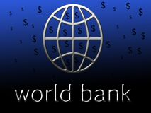 A world bank symbol with dollar shape. royalty free illustration