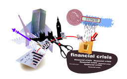 World banking crisis banner Stock Photography