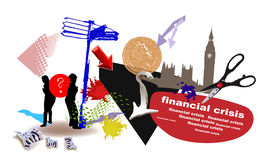 World banking crisis banner Royalty Free Stock Images