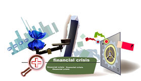 World banking finance crisis background. World banking crisis banner collage Stock Images