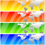 World banners. Banners in different colors with the world's continents (concept for travel, international business, globalization, etcetera Royalty Free Stock Image