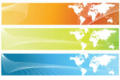 World Banners. Vector abstract world banner, 3 color variation Stock Photos