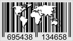 World and barcode. Highly detailed map of the world and barecode Vector Illustration