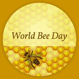 World Bee Day. Concept ecological event. Background of honeycomb with honey, bee. World Bee Day. Concept ecological event. 20 May. Background of honeycomb with stock illustration