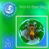 World Bee Day. Concept ecological event. Realistic bee drawing. Planet Earth. Series calendar. Holidays Around the World. Event of. World Bee Day. Concept vector illustration