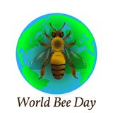 World Bee Day. Concept ecological event. Realistic bee drawing. Planet Earth. World Bee Day. Concept ecological event. 20 May. Realistic bee drawing. Planet royalty free illustration