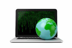 World Big Data Concept. Earth Planet on Laptop Computer with Green Text Letters Code on the Screen on White Background 3D Illustration, Big Data Concept Royalty Free Stock Image