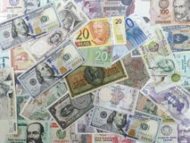 World Bills from around the world background Stock Photo