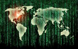 World and binary matrix Royalty Free Stock Photos