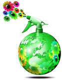 World bio flower spry. Aerosol spray to globe-shaped green flower sprays Stock Images