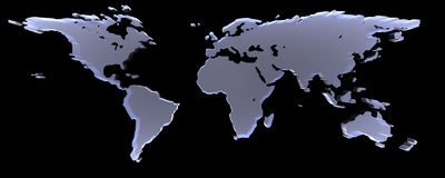 World On Black. 3D-Rendering of world map on black background. The material is rough glass Royalty Free Stock Photography