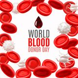 World Blood Donor Day Concept with Blood Cells in Realistic Style. Blood Donor Day Concept. Blood Cells Template in Realistic Style for Medical Banners Ads vector illustration