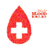 World blood donor day concept with red drop and cross. Vector illustration Royalty Free Stock Photo