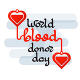 World Blood Donor day emblem isolated on white background. Handwritten words. Vector illustration of Donate blood concept for World blood donor day-June 14 Vector Illustration