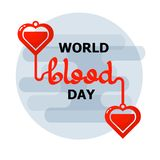 World Blood Donor day emblem isolated on white background. Handwritten words. Vector illustration of Donate blood concept for World blood donor day-June 14 Royalty Free Stock Photos