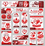 World Blood Donor Day tag, label and banner design. Blood Donor Day tag and label set. Medical banner of blood donation with red drop, heart, pulse and helping vector illustration