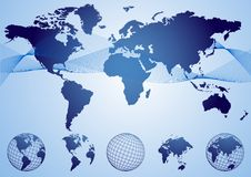 World blue. Blue world globe and map collection stock illustration