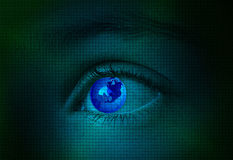 The world on blue pixeled eye royalty free stock image