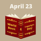 World Book and Copyright Day. Illustration for World Book and Copyright Day with open book and text on cover stock illustration
