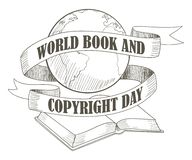 World Book and Copyright Day. Line art illustration for World Book and Copyright Day theme royalty free illustration