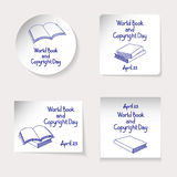 World Book and Copyright Day theme. Set of stickers or banners of different shapes: round, square, rectangle. Inscription and vari Royalty Free Stock Photos