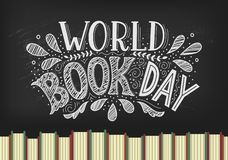 World Book Day. Books with hand drawn lettering on blackbord background stock illustration