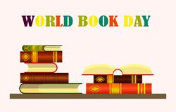 World book day. Books set on pink background,