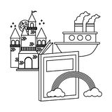 World book day. Castle boat rainbow textbook world book day vector illustration
