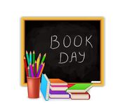 World Book Day concept with blackboard and school supply isolated on white background. Education vector illustration design stock illustration