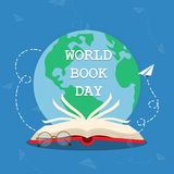 World Book Day 02. World Book Day concept. Open book logo illustration vector royalty free illustration